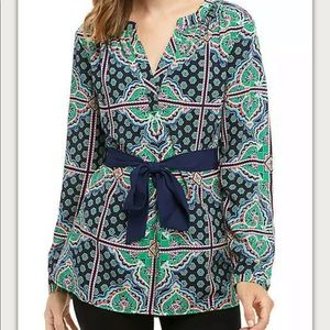 Crown & Ivy Long Belted Peasant Tunic Top Sz L NWT
